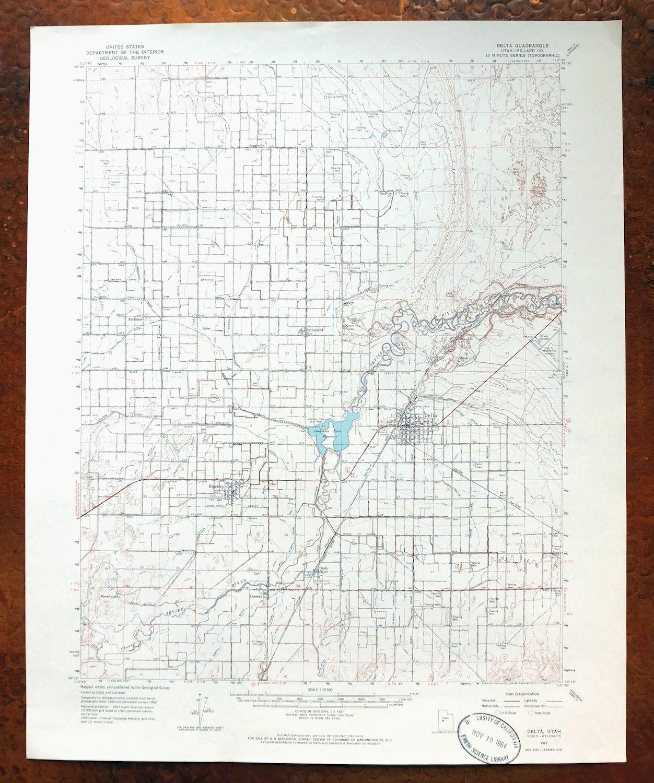 Delta Utah Vintage Original Usgs Topo Map Hinckley