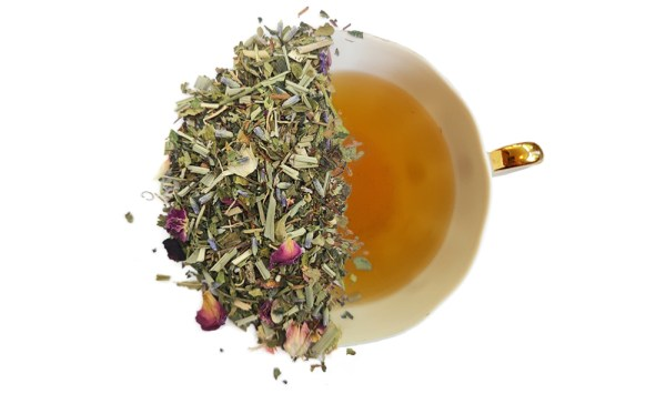 spearmint harmony tea leaves over a brewed cup