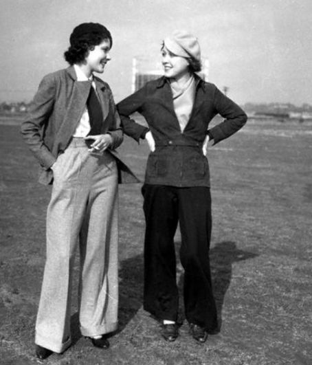 1920s Fashion Wide Legged Womens Trousers with Jackets and Ties