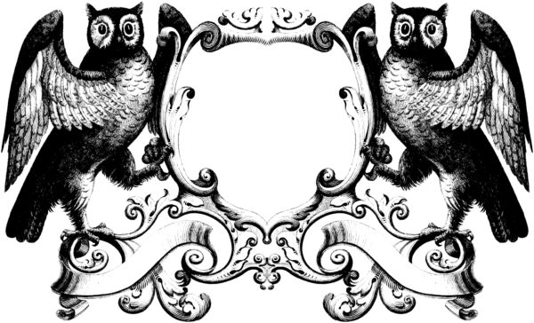 Gorgeous Stock Illustration - Vintage Owl Oramental Frame