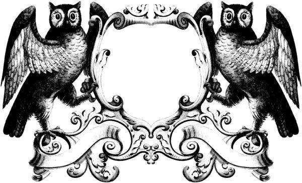 Gorgeous Stock Illustration - Vintage Owl Oramental Frame