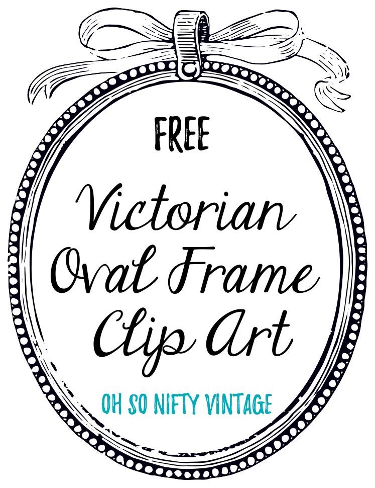 Vintage Oval Graphic Frame with Ribbon