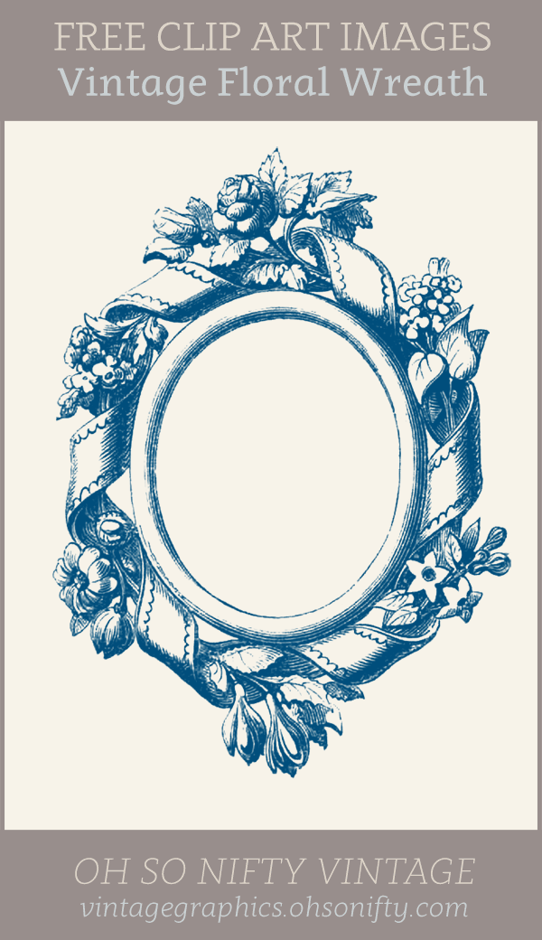 Vintage Frame Clip Art with Ribbons and Flowers
