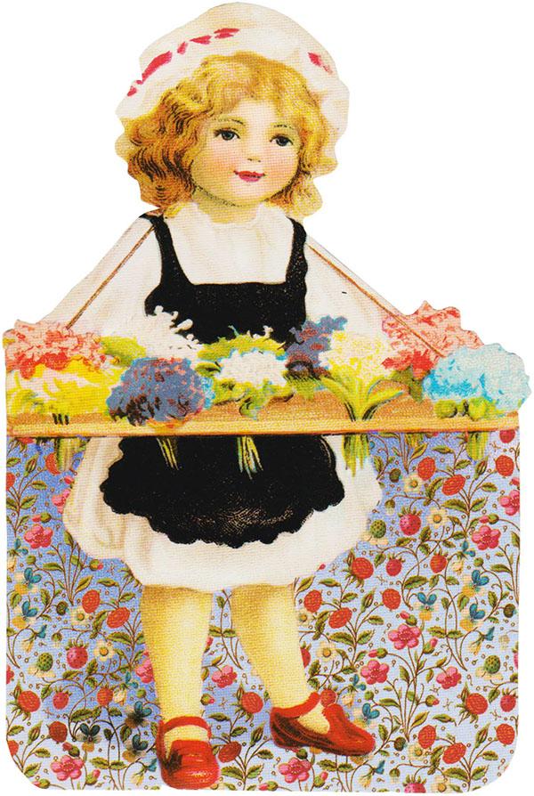 Free Clip Art - Girl Holding Flowers