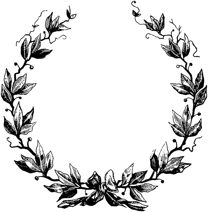 Vintage Floral Laurel Wreath Illustration