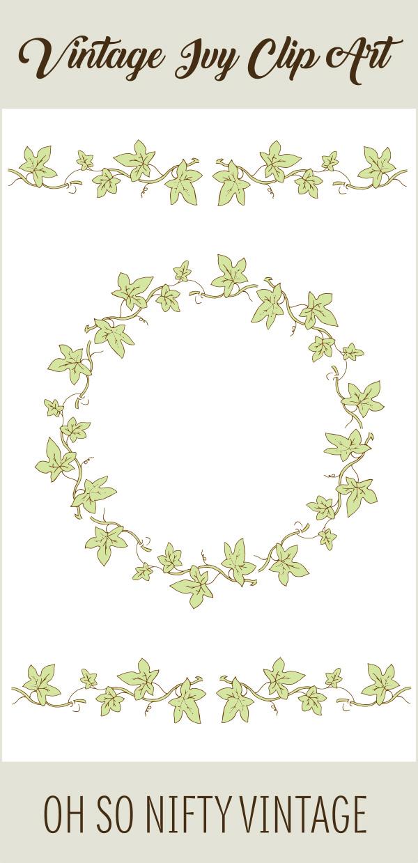 Ornamental Stock Images | Vintage Ivy Wreath & Divider