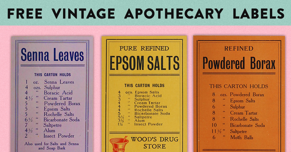 Printable Labels for a Vintage Apothecary