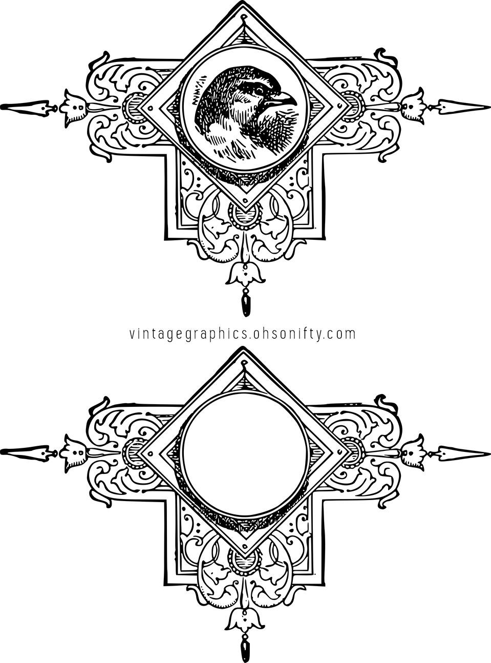 Vintage Decorative Bird Ornament Stock Vector & Clip Art