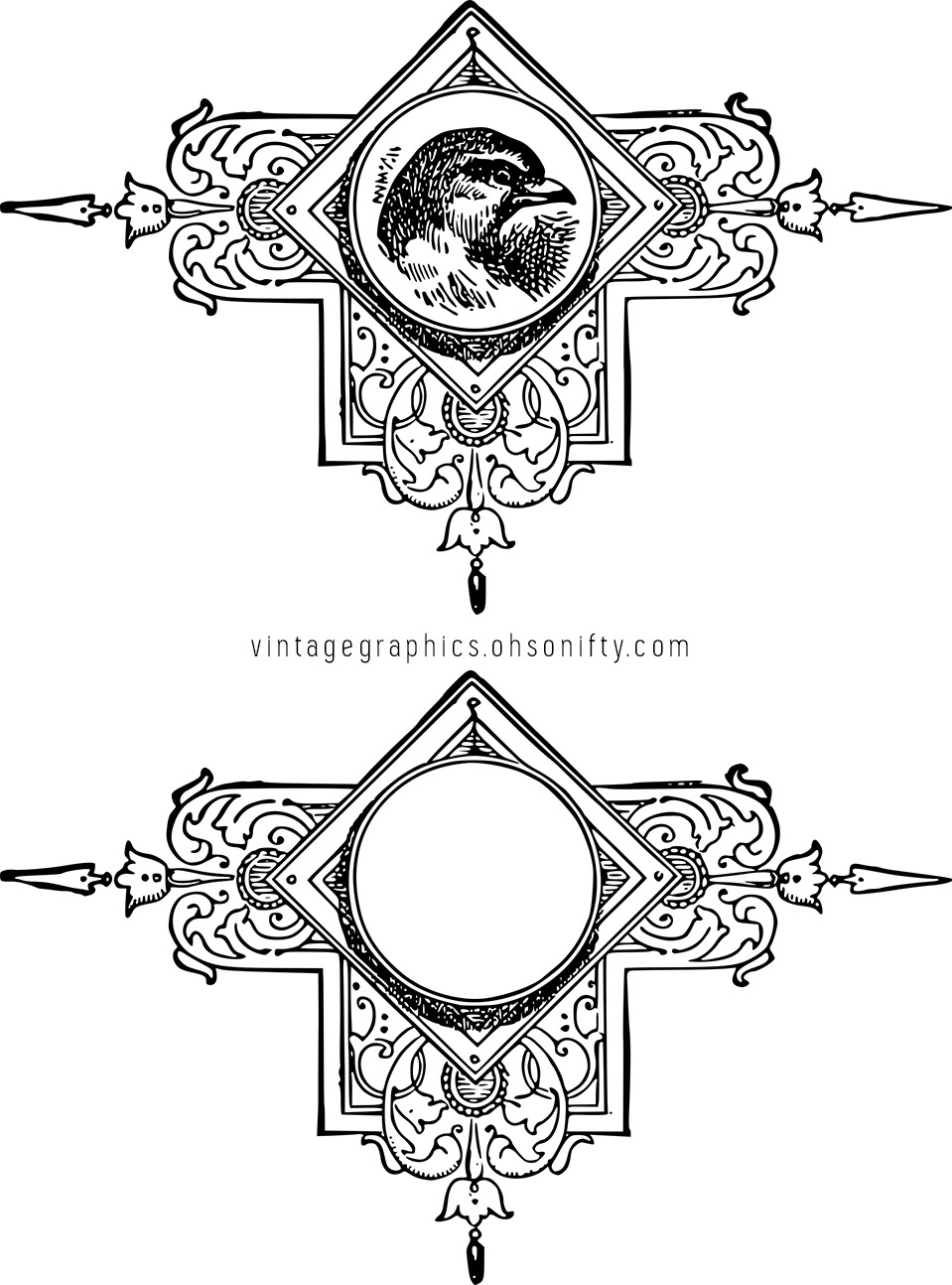 Vintage Decorative Bird Ornament Stock Vector & Clip Art