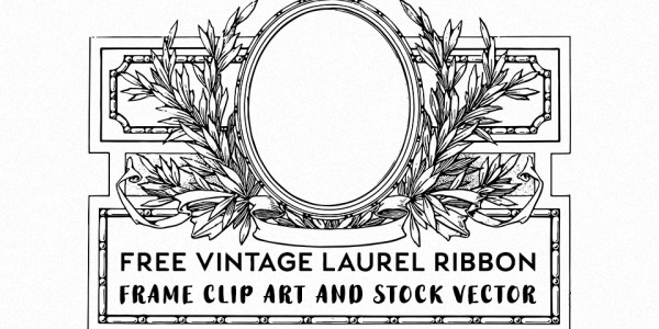 Free Vintage Laurel Ribbon Oval Clip Art & Stock Vector