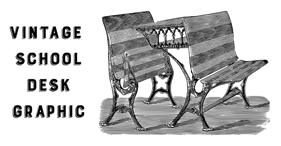 Vintage School Desk Graphic