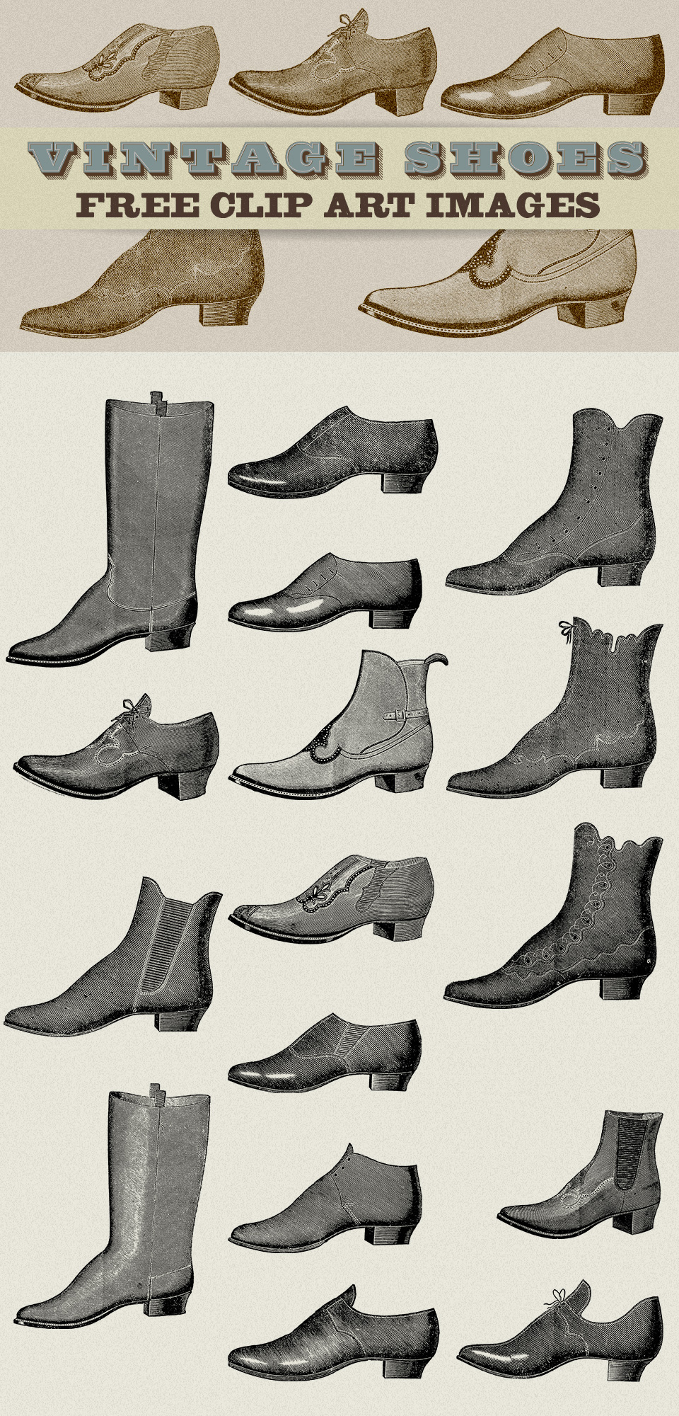 Vintage Clipart | Ladies & Mens Shoes