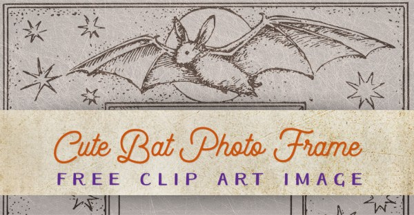 Vintage Halloween Cute Bat Photo Frame