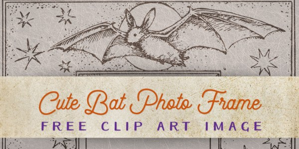 Vintage Halloween Cute Bat Photo Frame