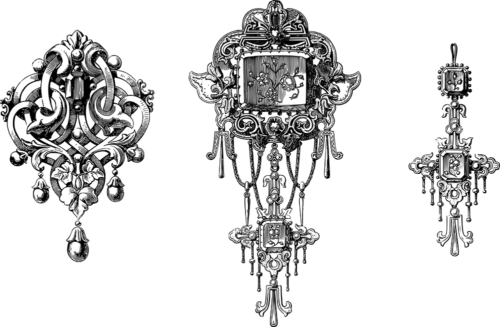 Stunning Antique Jewelry Vector Images & Clip Art