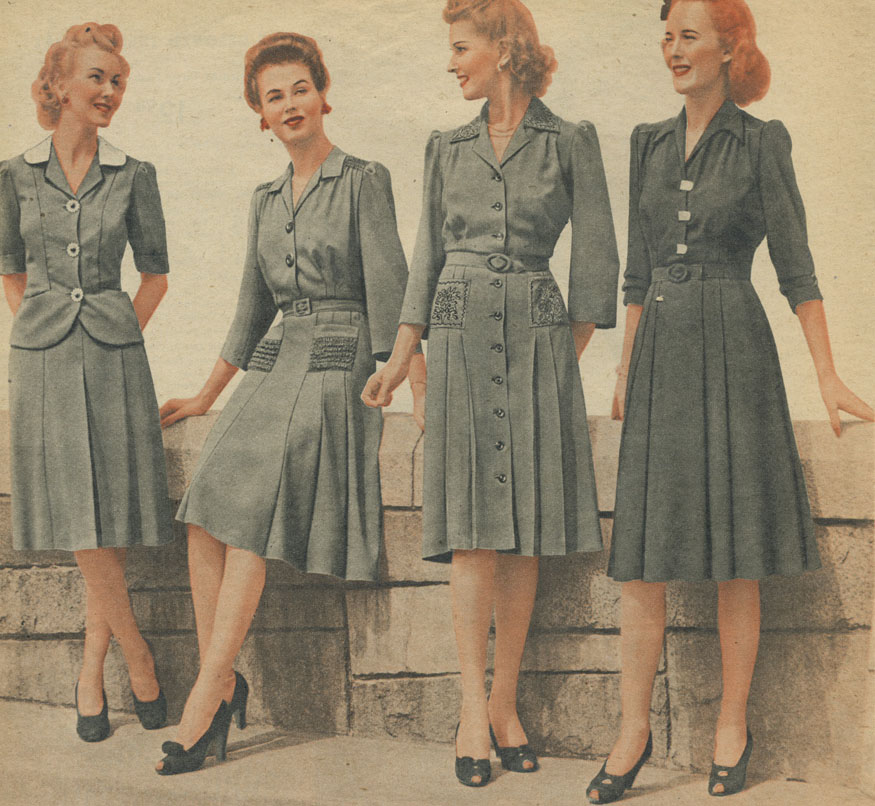 1940s Fashion   1940s day dress   war years