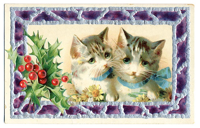 Free Vintage Christmas Cards Here Come The Cats