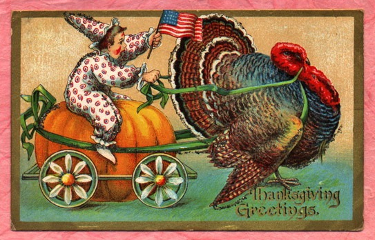 Vintage thanksgiving card, Boy riding turkey with American flag, from HubPages, original date unknown