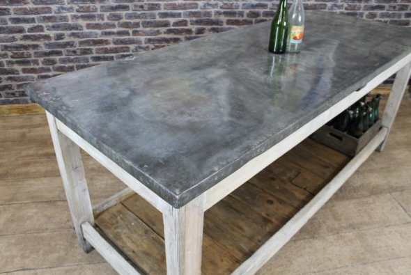 VINTAGE INDUSTRIAL ZINC TOP KITCHEN ISLAND STORAGE COUNTER