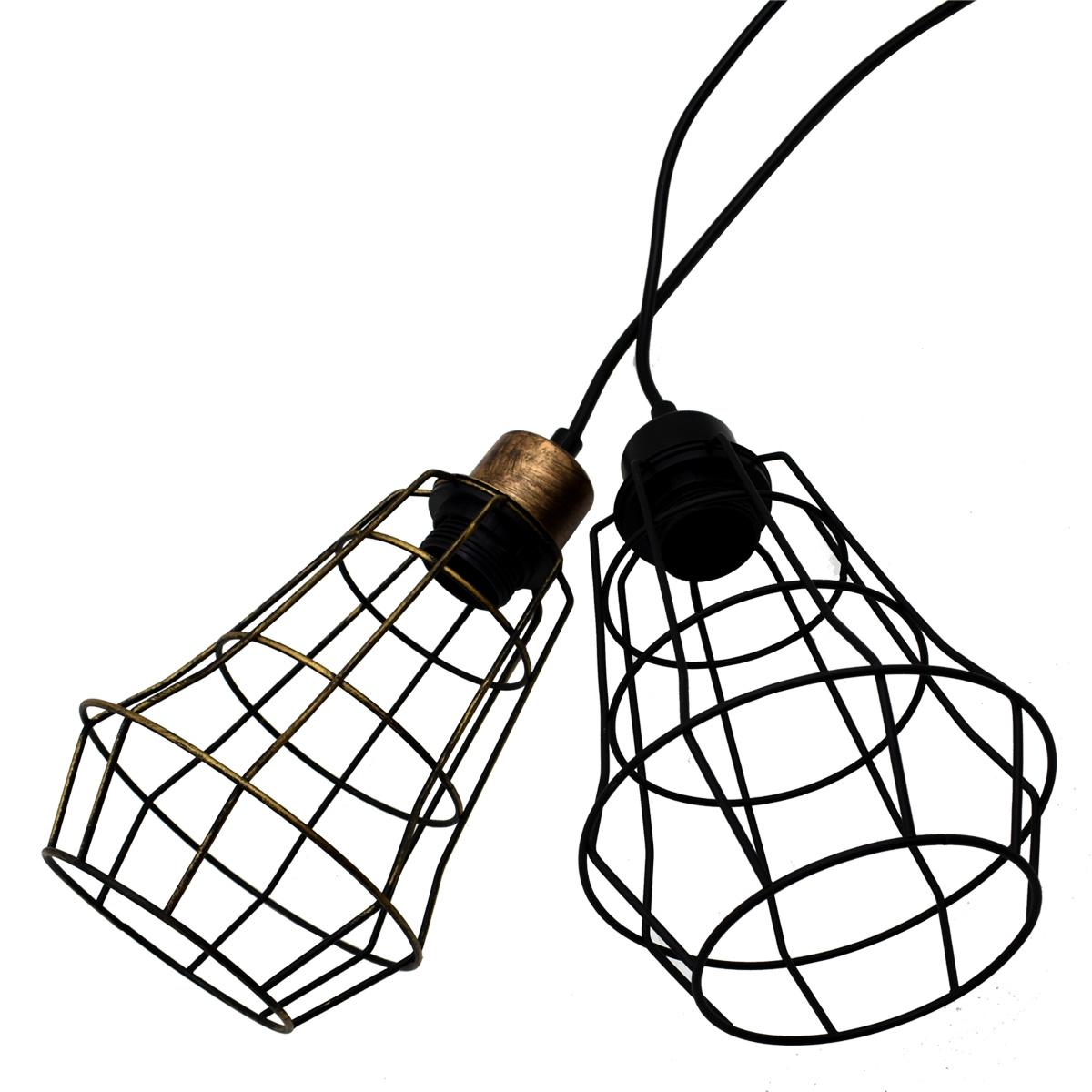 Vintage Cage Wire Pendant Light Industrial Metal Frame