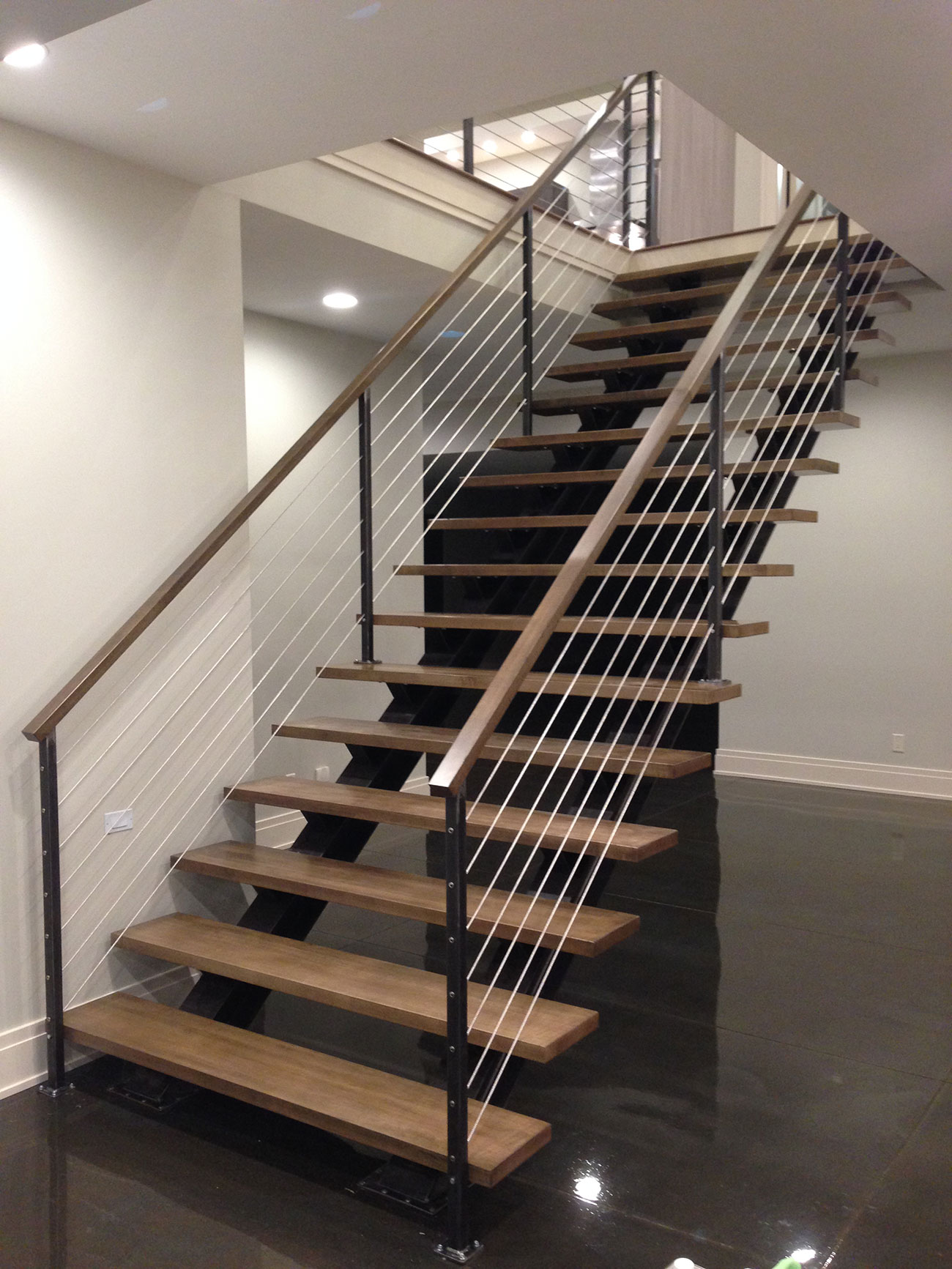 indoor stairs and cable rails