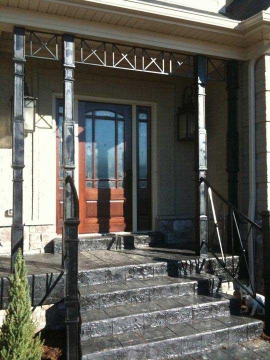 iron porch columns and rails