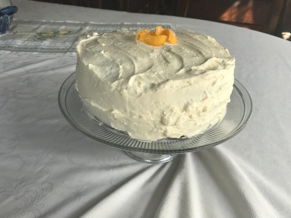 carrot cake before cut