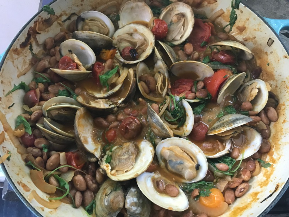 Pot of beans and clams