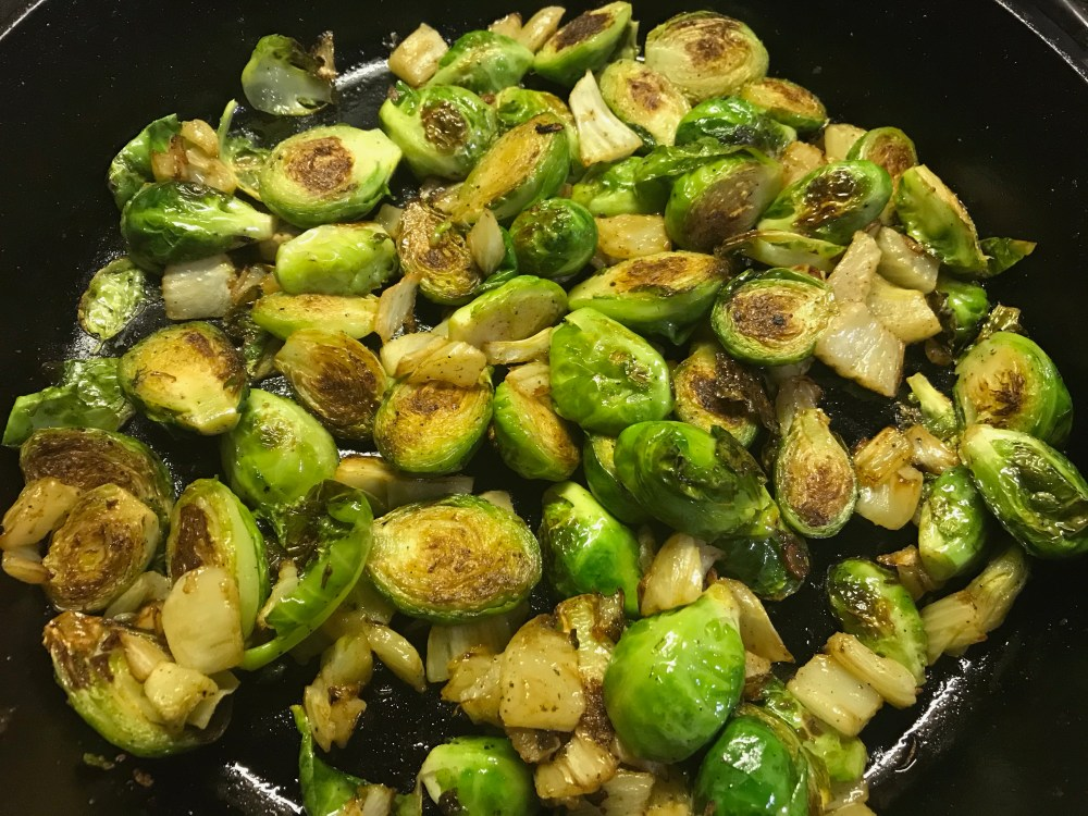 brussel sprouts and fennel cooking