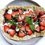 Chocolate Strawberry Mint Dessert Pizza with whole-milk ricotta cheese! This recipe lies at the intersection of easy and unbelievably delicious!
