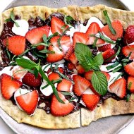 Chocolate Strawberry Mint Dessert Pizza