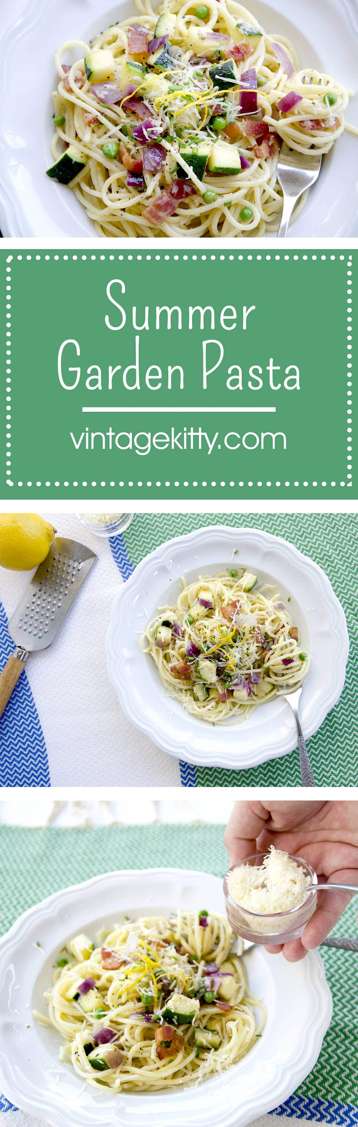 This easy Summer Garden Pasta is the perfect late summer, weeknight dinner. It's fresh, bright, savory and filling without being heavy. | vintagekitty.com