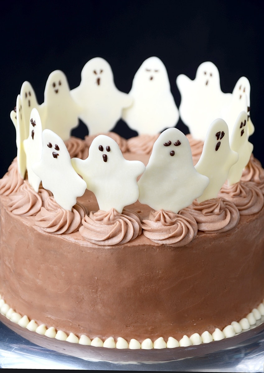 Dancing Ghosts Chocolate Coconut Cake- Ghoulishly Good! #Halloween Party Recipes and Ideas