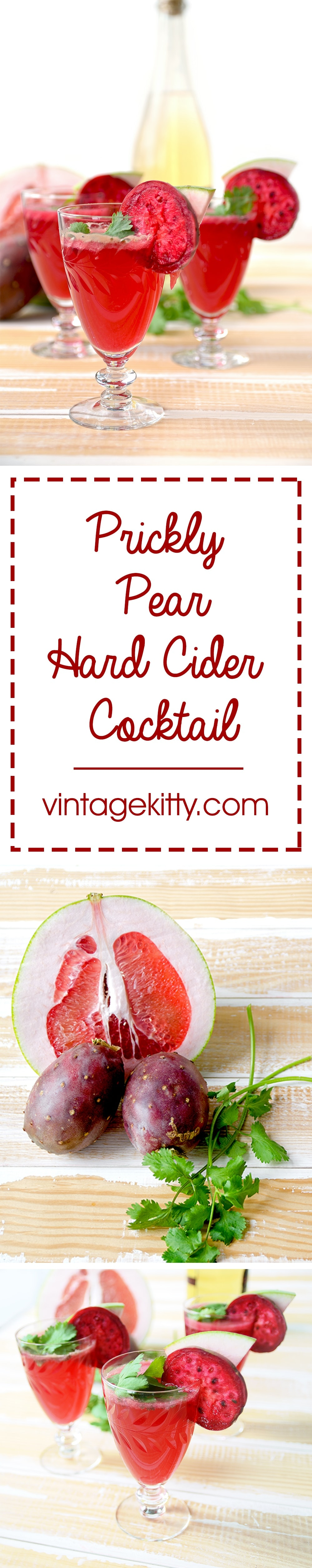 Refreshing, fruity and unique, this Prickly Pear Hard Cider Cocktail with Cilantro and Pomelo tastes as good as it looks.   vintagekitty.com
