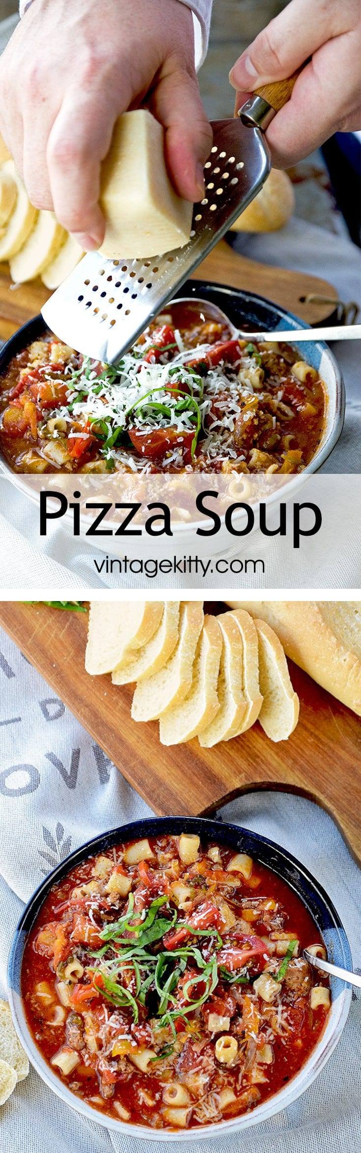 Pizza Soup is a hearty, robust tomato soup filled with Italian flavors and ingredients. It's supremely delicious and can be served as an appetizer or as an entree with a side salad or grilled cheese sandwich.