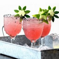 Watermelon Margaritas with Watermelon Rind Garnish