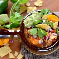 Vegan Sweet Potato Chili with Black Beans and Quinoa