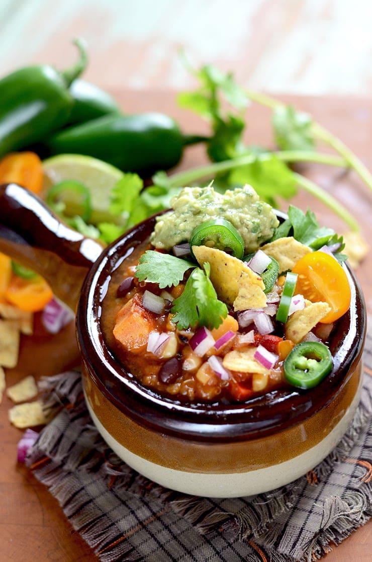 Thrive at Five Meal Plan-Week 18- Vegan Sweet Potato Chili, Thai Spaghetti Squash, Pesto Chicken, Tacos, Fish Nuggets, Quinoa Frittata & Overnight Oats