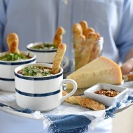 Margherita Pizza Soup with Pizza Crust Breadsticks