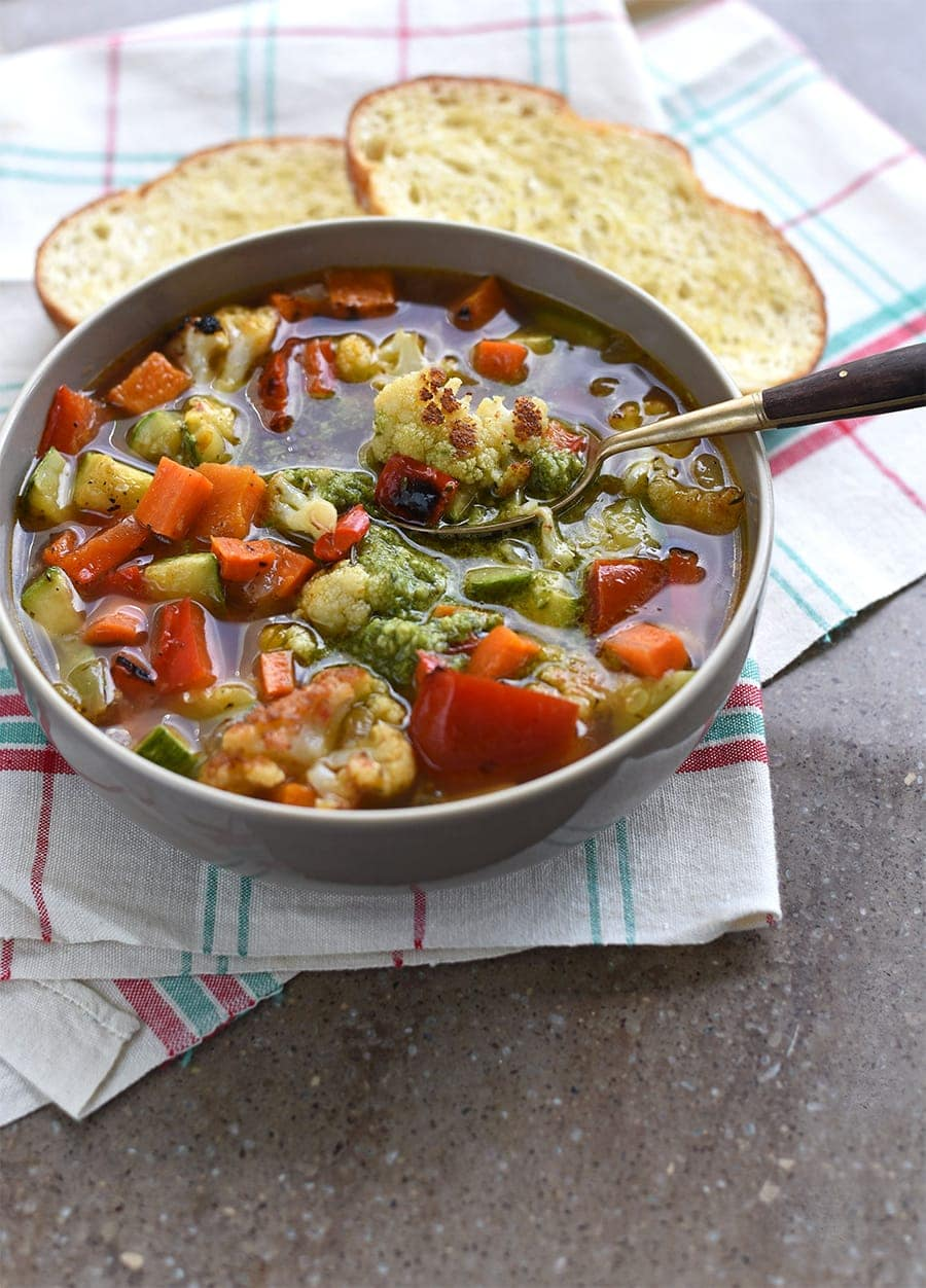 This Autumn Roasted Vegetable Soup is abundant with fresh vegetables that are caramelized in the oven for a robust flavor. Perfect for soup season!