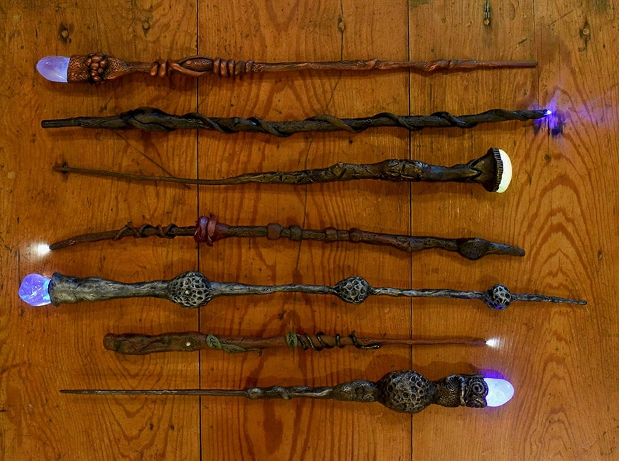 seven Harry Potter wands that light up