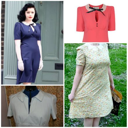 Top two Tara Starlet Lace Collar dress, bottom two my Sew For Victory dress