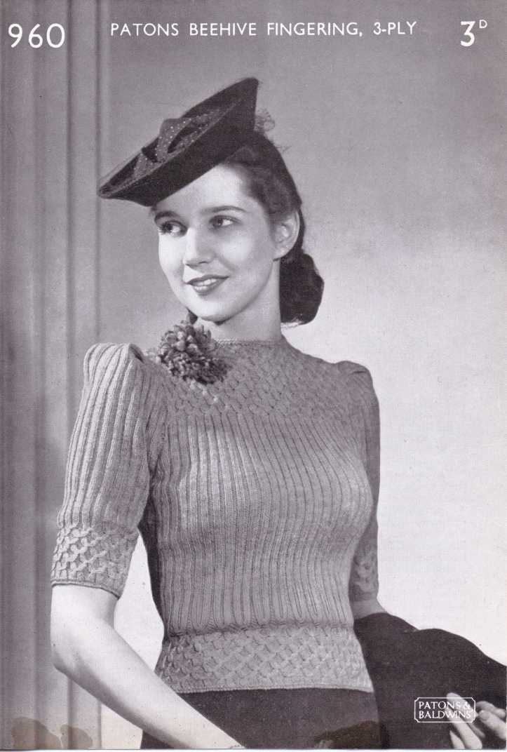 free vintage 40s forties knitting pattern