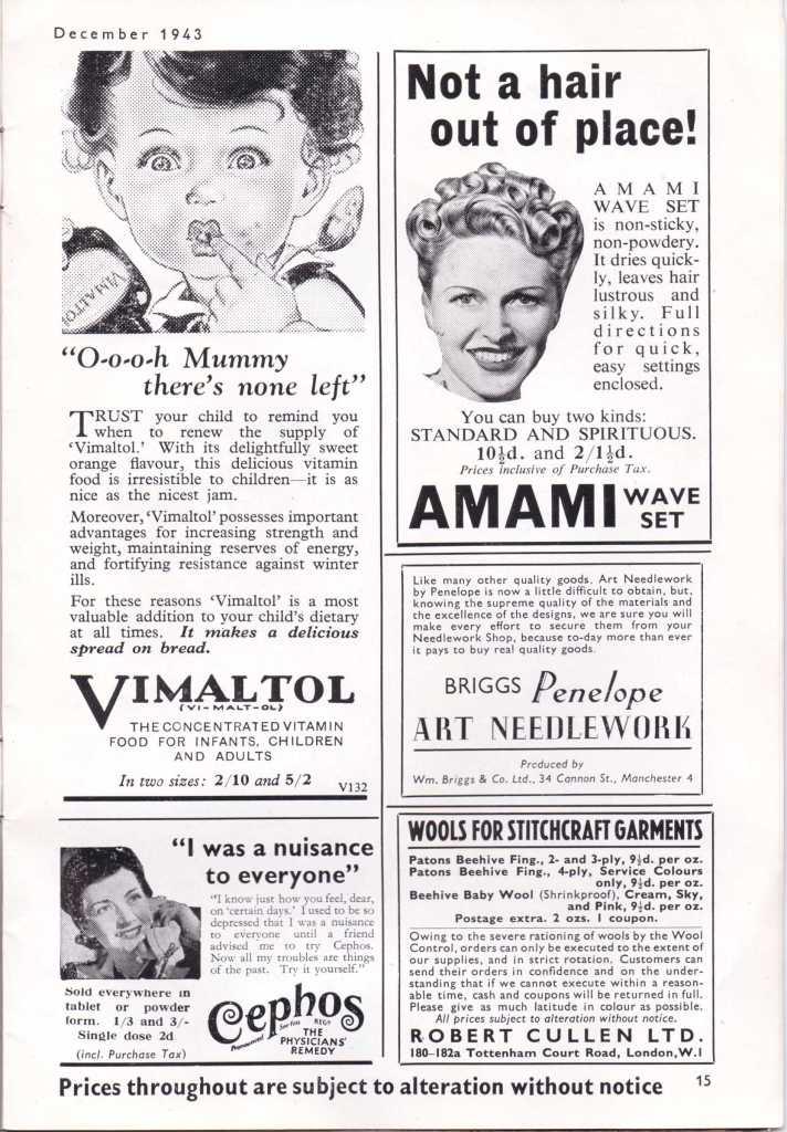 Vintage adverts from WW2 Stitchcraft Dec 1943 17
