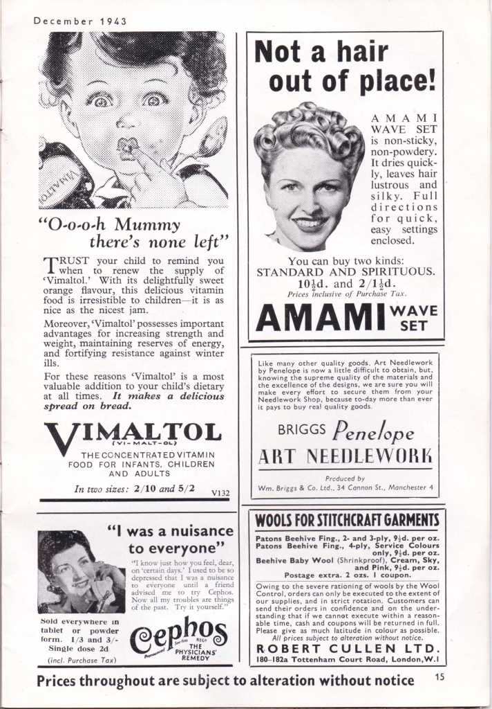 Vintage adverts from WW2 Stitchcraft Dec 1943 17