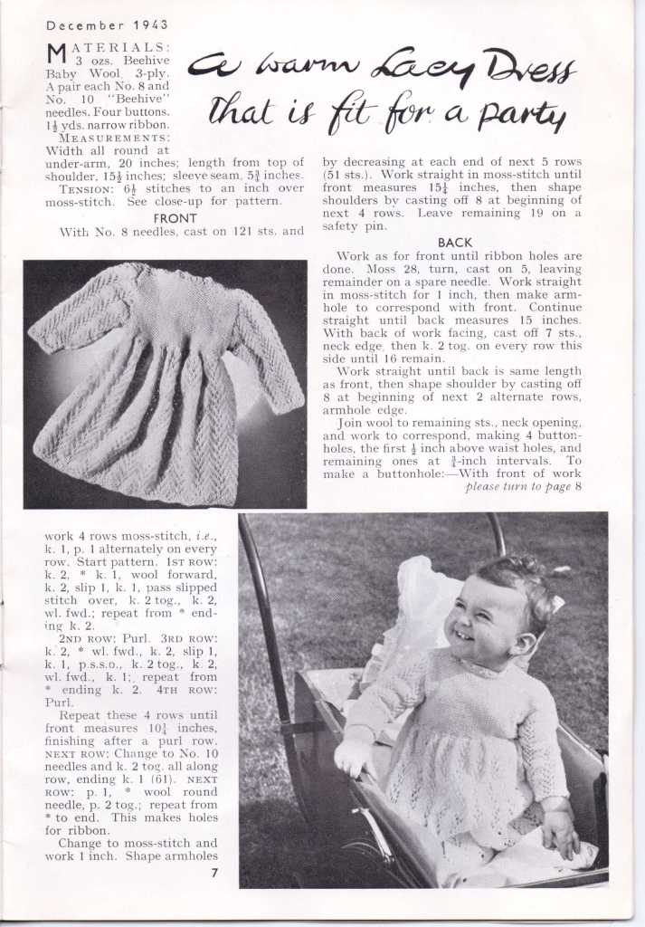 Free Vintage Knitting Pattern  baby's Stitchcraft Dec 1943 9