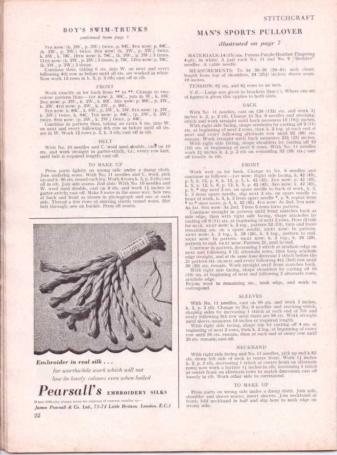 vintage knitting patternstitchcraftjune195225