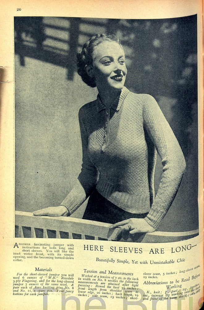 Good Needlework April 1936 Free Knitting pattern