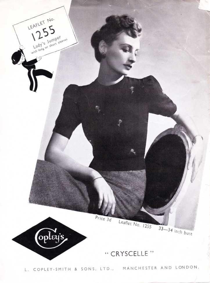 Copley's 1255 Knitting Pattern WW2 top
