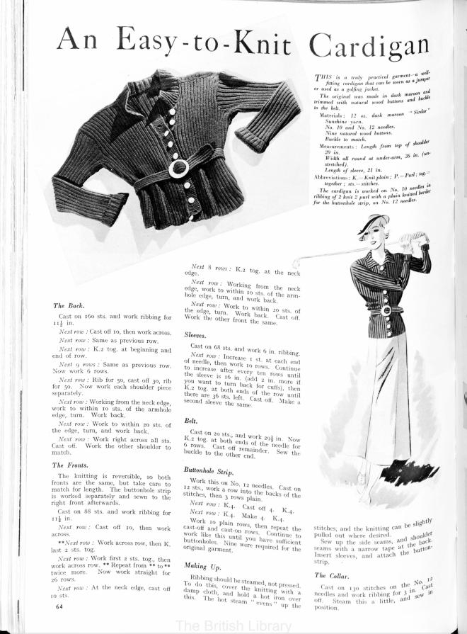 golfing jacket 30's Britania and Eve Knitting Pattern